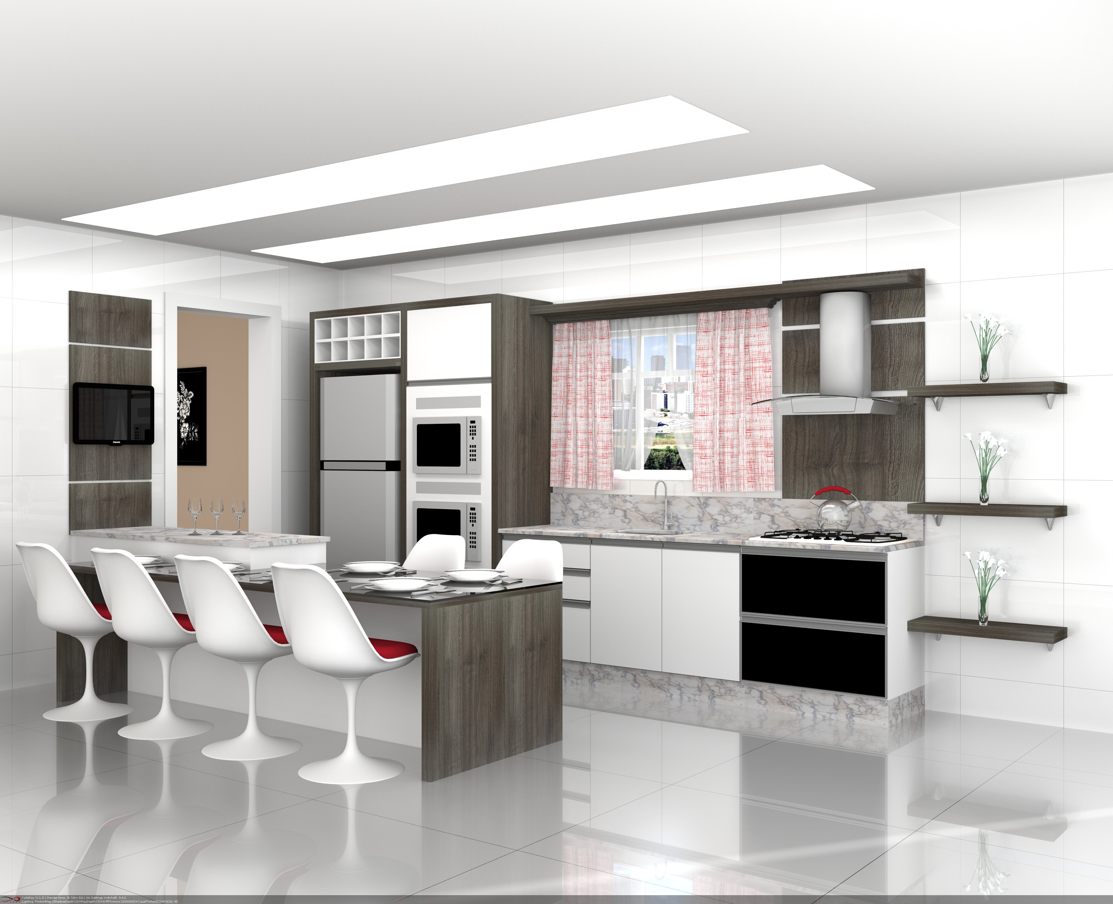 Interno – Cozinha Modulada. Indústria de Móveis Celmóbile #746157 3780 3071